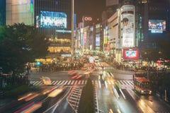 Cruzamento da precipitação de Shibuya no Tóquio, Japão Fotografia de Stock