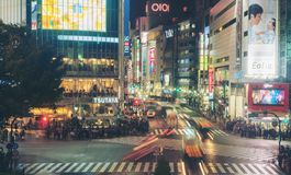 Cruzamento da precipitação de Shibuya no Tóquio, Japão Fotos de Stock Royalty Free