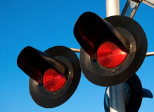 Cruzamento de estrada de ferro aéreo Imagem de Stock