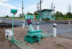 Cruzamento de estrada de ferro em Rússia central Fotografia de Stock Royalty Free