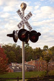 Cruzamento de estrada de ferro no galeno, Illinois Foto de Stock