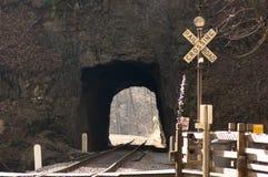 Cruzamento de estrada de ferro no túnel Fotografia de Stock Royalty Free