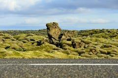 Cruzamento de estrada um campo de lava overgrown com musgos Imagem de Stock