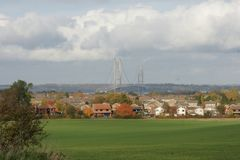 Cruzamento de rio Kingston Upon Hull da ponte de Humber fotos de stock
