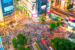 Cruzamento de Shibuya da vista superior no Tóquio imagem de stock