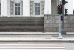 Cruzamento de zebra com uma tráfego-luz Foto de Stock Royalty Free