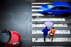 Cruzamento pedestre com carro Imagens de Stock Royalty Free