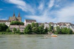 Cruzando o Reno em Basileia, Switerland Imagem de Stock