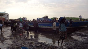Cruzando o rio para fujir as lutas Fotos de Stock Royalty Free