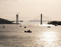Cruzando-se sobre, porto de Yeosu, Coreia Imagem de Stock
