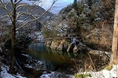 Cruzar el río en invierno Fotos de archivo libres de regalías