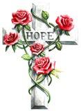 Cruze com as rosas vermelhas e texto cor-de-rosa da esperança Foto de Stock