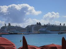 Cruze ships at anchor at Philipsburg, Sint Maarten. Cruze ships, Philipsburg, Sint Maarten Royalty Free Stock Images