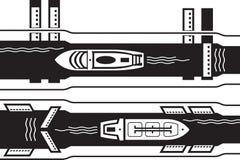 Cruzeiro e canal industrial da água da passagem do navio ilustração stock