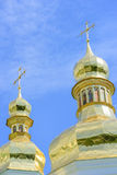 Cruzes cristãs ortodoxos douradas Fotos de Stock Royalty Free