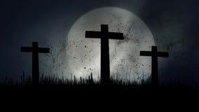 3 cruzes de madeira que queimam-se em um fundo de aumentação da Lua cheia ilustração royalty free