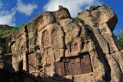 Cruzes na rocha, no monastério de Geghard Fotografia de Stock