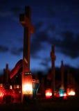 Cruzes no cemitério Fotos de Stock