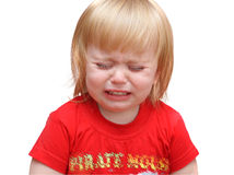 Cry baby. Crying child on a white background Stock Image