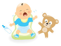 Cry baby. Illustration of a baby crying and sad teddy bear vector illustration