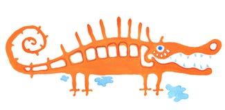 Cry of  crocodile. Orange crocodile in cry on white background Stock Image