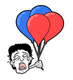 Cry face with balloons. Creative design of cry face with balloons Royalty Free Stock Images