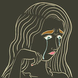 Cry face. Outline cry woman face on isolated background Stock Photography