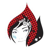 Cry girl face. Crying girl face tear stylish vector Illustration  isolated over white background Royalty Free Stock Image
