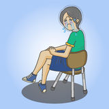 Cry girl. Sitting on the chair vector illustration