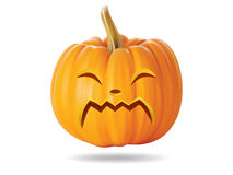 Cry pumpkin. Halloween pumpkin with funny face on  white Royalty Free Stock Photo