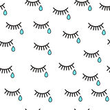 Cry. Seamless background with tears and eyelashes. Black eyelashes on a white background. Blue tears Royalty Free Stock Image