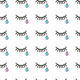 Cry. Seamless background with tears and eyelashes. Black eyelashes on a white background. Blue tears Royalty Free Stock Images