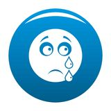 Cry smile icon blue. Circle isolated on white background vector illustration