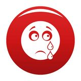 Cry smile icon vector red. Cry smile icon. Vector simple illustration of cry smile icon isolated on white background royalty free illustration