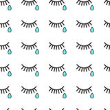 Cry.  tears and eyelashes. Cry. Seamless background with tears and eyelashes. Black eyelashes on a white background. Blue tears Royalty Free Stock Photo