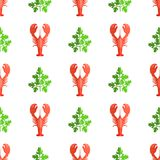 Cryafish and Parsley Pattern Vector Illustration. Cryafish and parsley, seamless pattern with craysfish and parsley, seafood and icons collection, vector Royalty Free Stock Image