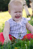 Crybaby. Baby girl in a plaid shirt sitting on the grass and crying out loud stock images