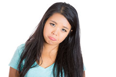 Crybaby face by an adorable young girl Royalty Free Stock Photo