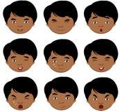 印地安男孩情感:喜悦,惊奇,恐惧,悲伤,哀痛, cryin 免版税图库摄影