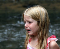 Crying. Upset child with tears on her cheek Royalty Free Stock Photos