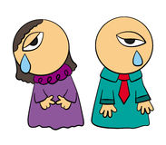 Crying. A humorous illustration of two cute cartoon characters crying Stock Photo