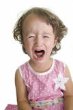 Crying. Cute young girl in pink dress crying Stock Photos