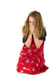 Crying abused child. With raggy hair Royalty Free Stock Photos