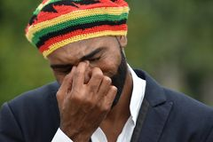 Crying Adult Black Jamaican Man. A handsome adult black man royalty free stock images