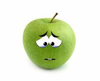 Crying apple. Over white background Royalty Free Stock Photos