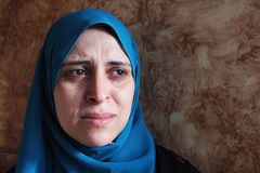 Crying arab muslim woman Stock Images