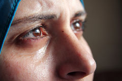 Crying arab muslim woman with tears Royalty Free Stock Photo