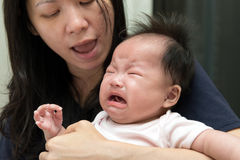 Crying Asian baby Royalty Free Stock Image