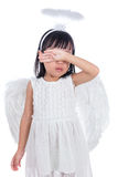 Crying Asian Chinese little girl wearing angel custome Stock Photography