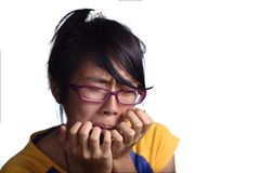 Crying asian female teenager Stock Image